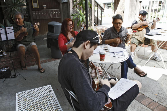 Ukulele enthusiasts play along to songs at Java Brew Coffee House in Montrose on Saturday. The jam sessions take place every third Saturday of the month.