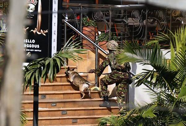 A Kenyan soldier holding a dog by its leash enters the main gate of Westgate Shopping Centre in Nairobi.