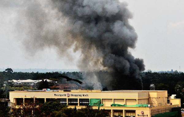 Smoke rises from the Westgate mall in Nairobi, Kenya, during the standoff between militants and security forces. Officials said they believed that all civilians were out, and they were searching the building floor by floor for surviving assailants.