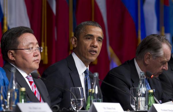 President Obama speaks during an International Civil Society event with Tsakhia Elbegdorj, president of Mongolia, left, and Jan Eliasson, deputy secretary-general of the United Nations, in New York.