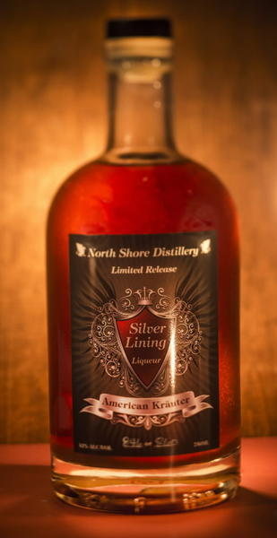 A bottle of Silver Lining Liqueur by North Shore Distillery is pictured in the Tribune studio.