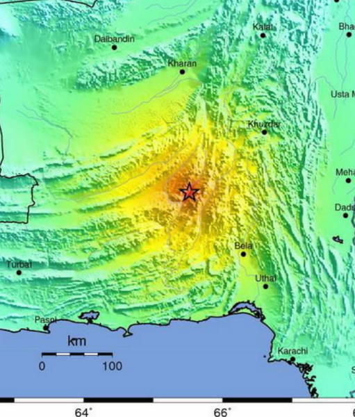 A handout photograph released by the U.S. Geological Society (USGS) on showing a USGS ShakeMap of the magnitude 7.4 earthquake that hit Pakistan's western province of Balochistan on September 24.