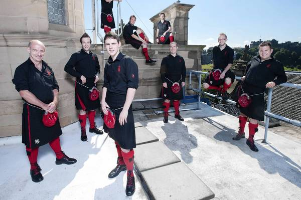 The Red Hot Chili Pipers plays as part of the Pipes in the Valley Celtic Music Festival Saturday on Riverfront Plaza.
