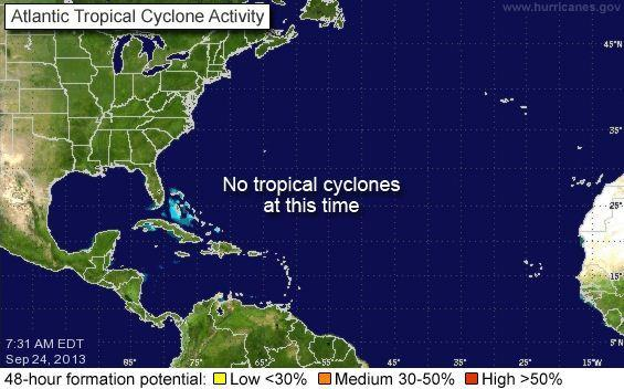 The National Hurricane Center's forecasters don't expect any tropical cyclones to form in the next few days.