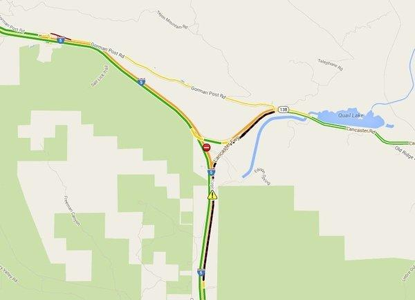 Northbound Interstate 5 was closed at Highway 138 after a big rig crash.