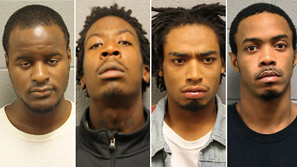 From left: Kewane Gatewood, 20, Bryon Champ, 21, Brad Jett, 22, and Tabari Young, 22, have been charged in the shooting incident at Cornell Square Park in the Back of the Yards neighborhood of Chicago.