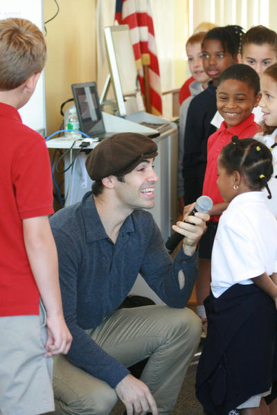Local actor and musician Nate Lombardi performed recently for students at Swain School.