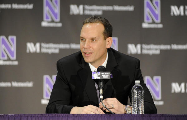 Northwestern basketball coach Chris Collins speaks during his introductory news conference in April.