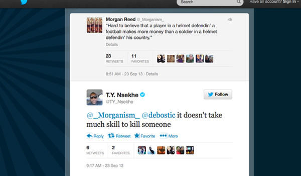 Former Rams offensive tackle Ty Nsekhe made a controversial comment on Twitter.