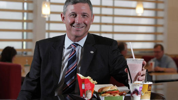 "Chief Marketing Officer Neil Golden promotes McDonald's ""Favorites Under 400"" meals at the company's headquarters in Oak Brook last year."