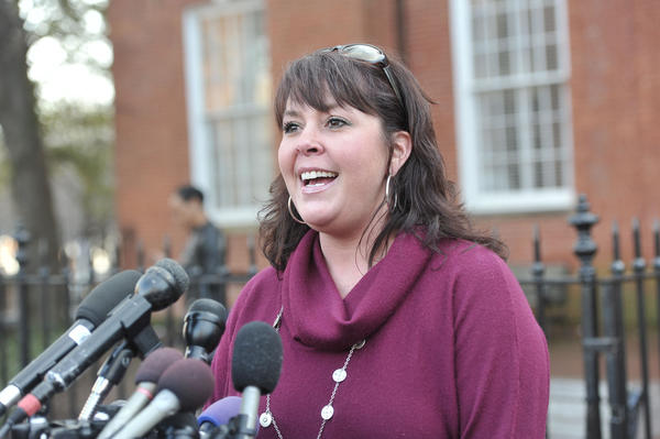 "Karla Hamner, former Anne Arundel County employee, spoke to reporters in January following Leopold's conviction on charges of misconduct in office. Last week she accepted an ""offer of judgment"" in a civil case against the county."