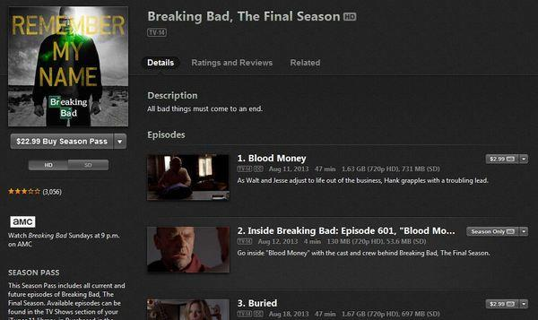 """Apple is offering customers who purchased """"Season 5"""" of """"Breaking Bad"""" a credit they can use toward """"The Final Season"""" of the show."""