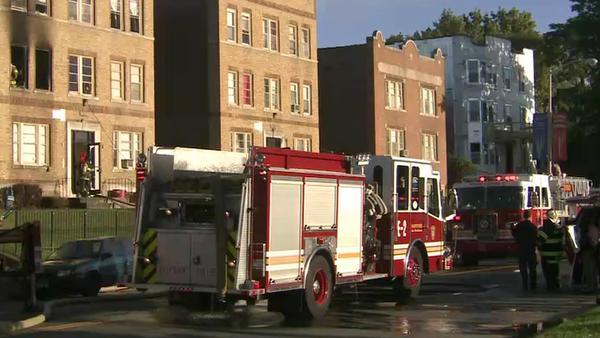 Scene of a fire on Main Street in Hartford Tuesday morning.