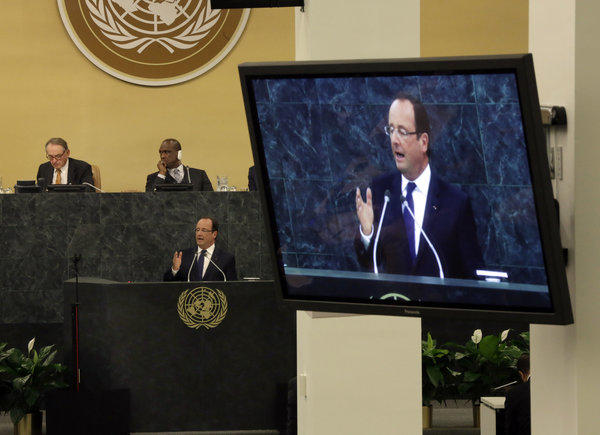 France's President Francois Hollande appealed to the U.N. General Assembly to launch a mission to finance and train African armies to defend themselves against terrorism of the type seen this week in a deadly siege at a Nairobi shopping mall.