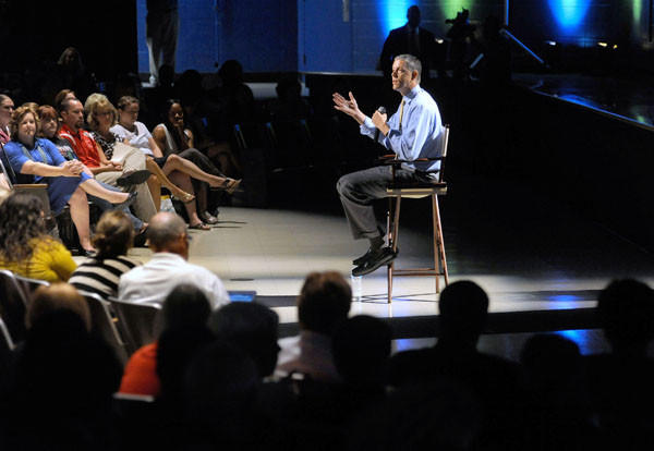 U.S. Secretary of Education Arne Duncan speaks to teachers at Perry Hall High School in 2012.
