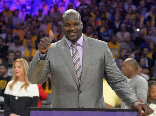 Shaquille O'Neal, shown in April at a ceremony to retire his Lakers jersey, met with Gov. Jerry Brown in the state Capitol on Monday.