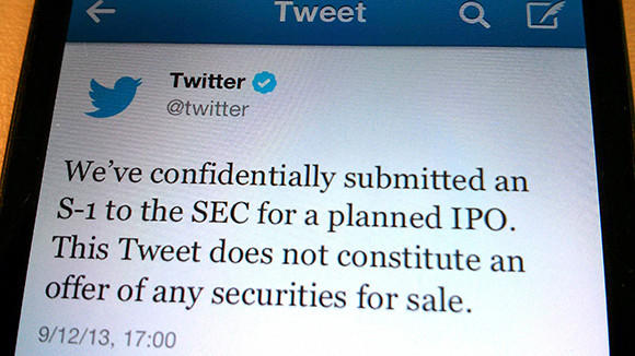 A tweet from Twitter Inc. announcing its initial public offering on Sept. 12.