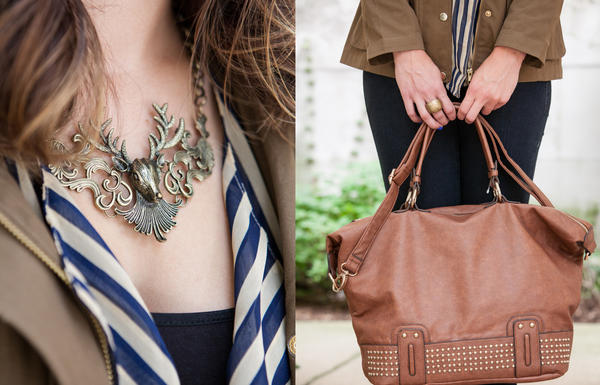 RedEye columnist Lauren Krause models a necklace and bag from Langford Market.