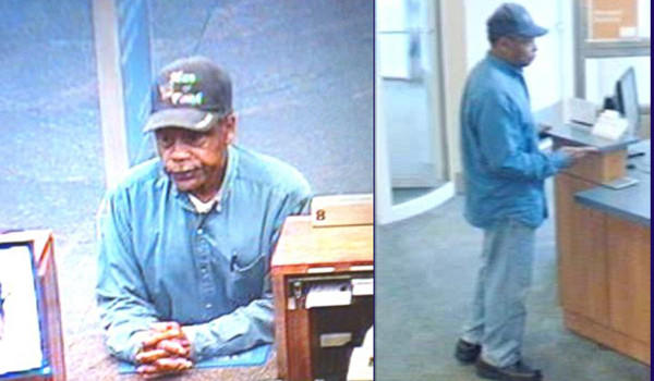 A man who robbed the BMO Harris Bank headquarters this morning (left) also is believed to have been ejected from a PNC Bank branch a block away about 15 minutes before (right).