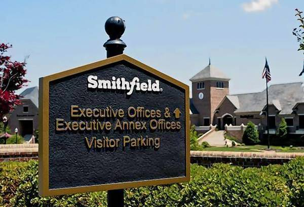The executive offices of Smithfield Foods are seen in Smithfield, Virginia.