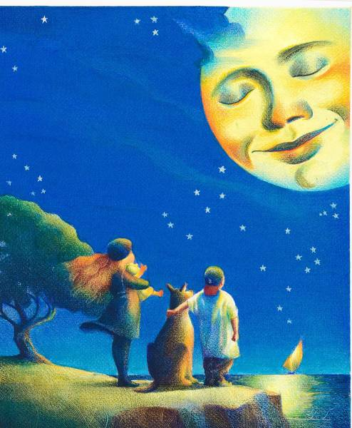 "A Raul Colon illustration for ""Rise the Moon,"" a 2003 book by Eileen Spinelli."