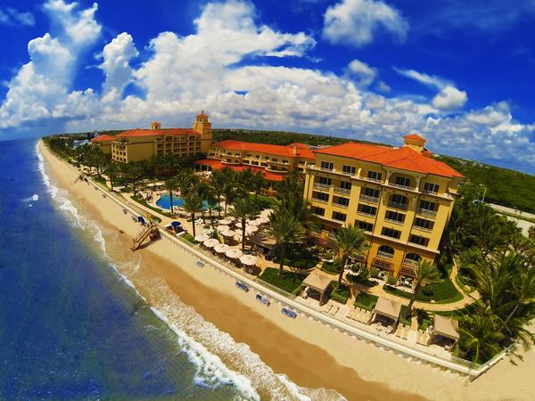 Aerial of exterior of Eau Palm Beach Resort & Spa