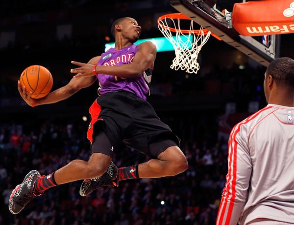 Terrence Ross of the Toronto Raptors dunk during last season's slam dunk contest at the All-Star Game in Houston.
