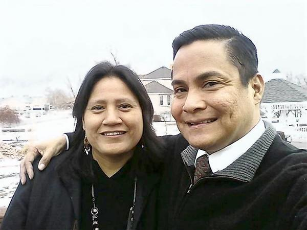 Native American Leland Morrill, a member of the Navajo nation, poses with his cousin Virginia in this family photo