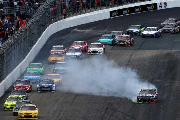 Kasey Kahne gets in involved in an on-track incident during the NASCAR Sprint Cup Series Sylvania 300 at New Hampshire