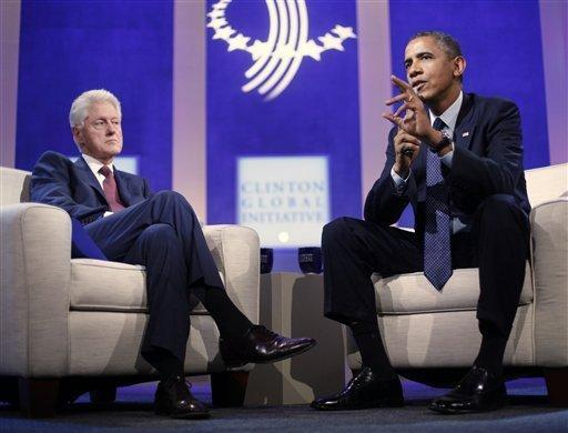 President Obama with former President Bill Clinton at the Clinton Global Initiative in New York.