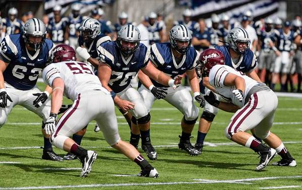 New Hampshire football player Mike Coccia (No. 70) a Freedom graduate, who is returning to the Lehigh Valley this weekend to play for UNH against Lehigh.
