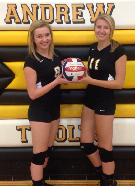 Andrew High School volleyball players Nicole Bernardi and Baylee Panfil's personal goals include improving their number of kills and blocks, respectively.