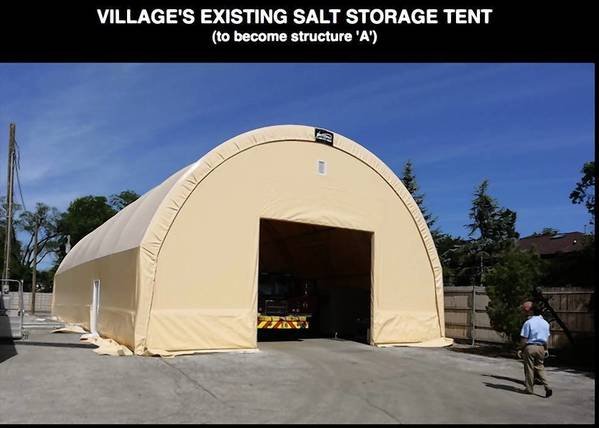 Glenview's Public Works Department hopes to install two additional salt storage tents similar to the structure shown here.