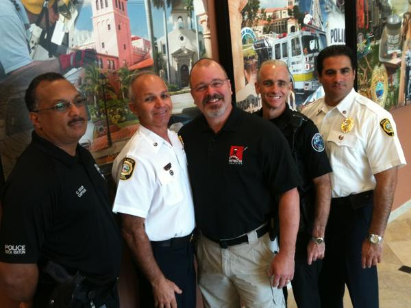 From left, Capt. Coy Dixon, Assistant Fire Chief Michael A. Gergora, George T. Williams, Chief Daniel Alexander, Assistant Fire Chief Michael LaSalle. Fire and police command staff were training with Williams on Sept. 25, 2013 to prepare for a mass casualty incident.