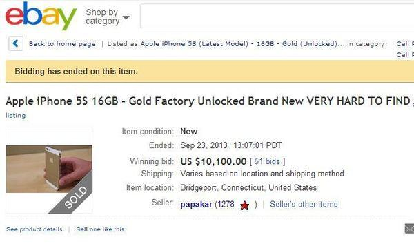 A gold iPhone 5s sold on Ebay earlier this week for more than $10,000.