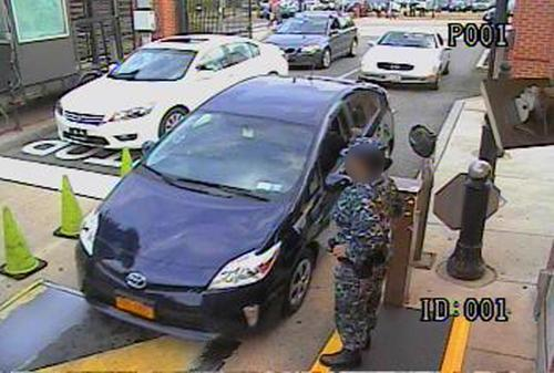 This image from video released by the FBI shows a Toyota Prius driven by Aaron Alexis as he arrives at the Washington Navy Yard gate.