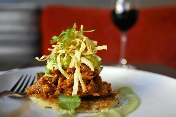 The barbecue chicken tamale pancake with avocado salsa and tortilla strips at Lark Creek.