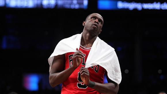 Chicago Bulls' Luol Deng reacts in final seconds of 110-91 loss to Brooklyn Nets in Game 5 of Eastern Conference 1st Round playoff series at Barclays Center in Brooklyn, New York on Monday, April 29.