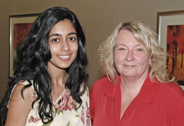 Journalist Esha Chhabra, left, was welcomed to the Burbank Zonta Club's monthly dinner by the organization's president, Grace Farenbaugh.