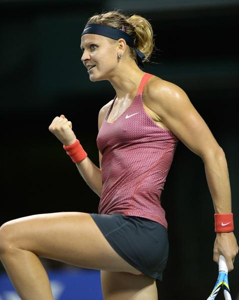 Lucie Safarova of Czech Republic clinches her fist after her victory in her women's singles third round match against Samantha Stosur of Australia at the Pan Pacific Open tennis tournament in Tokyo on September 25, 2013. Safarova won 6-4, 6-4.
