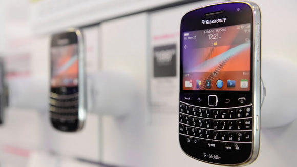 Blackberry smartphones are or sale at T-Mobile store in Los Angeles in 2012.