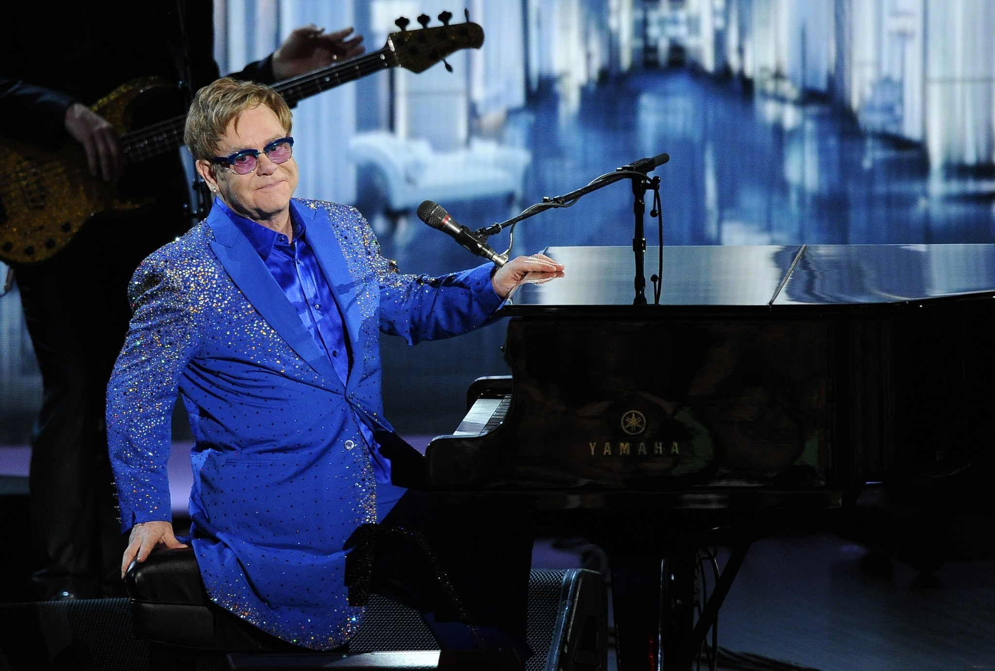 "Elton John performs ""Home Again"" at the 65th Primetime Emmy Awards at the Nokia Theatre."