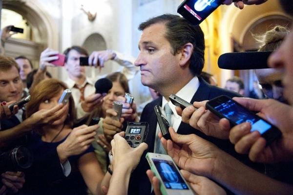 Whose interests was Sen. Ted Cruz representing during his anti-Obamacare speech?