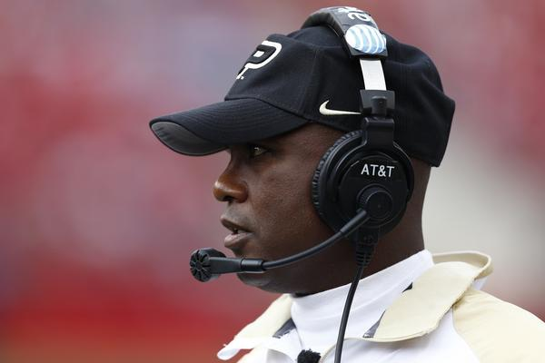 Purdue coach Darrell Hazell looks on against Wisconsin.