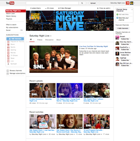 "A screenshot of ""Saturday Night Live's"" new YouTube channel for international audiences, managed by the Venice, Calif., company ZEFR."