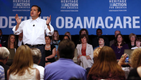 Senator Ted Cruz, a Republican from Texas, speaks at a Heritage Action Defund Obamacare Town Hall event in Dallas, Texas.