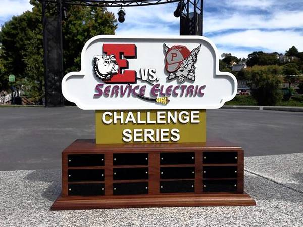 The new trophy that will be awarded each year in the new 'Easton-Phillipsburg Service Electric Cable TV Challenge Series.' Part of the series will feature the live broadcast of the Easton-Phillipsburg Thanksgiving Day football game.