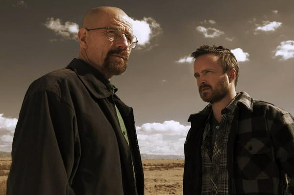 "Bryan Cranston as Walter White and Aaron Paul as Jesse Pinkman in AMC TV show ""Breaking Bad."""