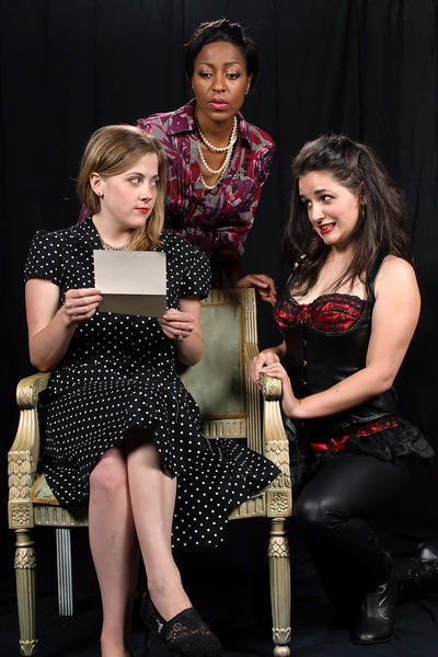 "From left, Sarah Wade, Lilian Oben and Pam Woodward star as three women sharing a time travel adventure in ""Communicating Doors,"" continuing through Oct. 12 at Colonial Players in Annapolis."