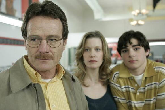 """Pilot."" Walter White (Bryan Cranston), Skyler White (Anna Gunn) and Walt Jr. (RJ Mitte)."
